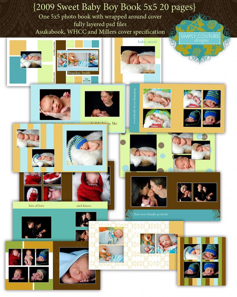 Sweet Baby Boy Book Photoshop Template 50 Simply Couture Designs