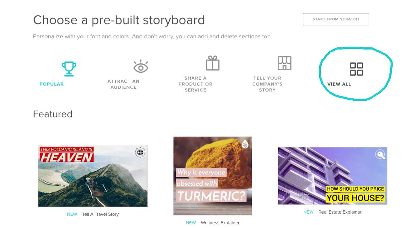 Animoto View all storyboards