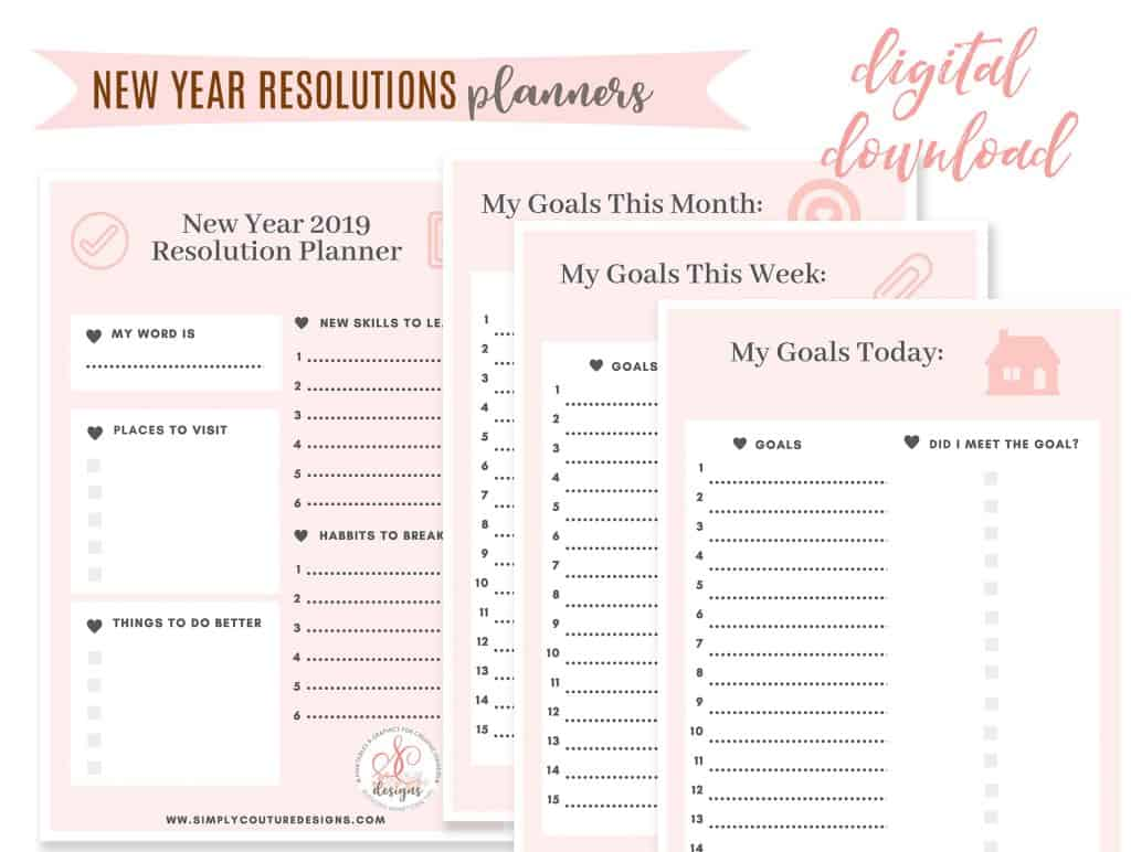 Free New year resolutions printables