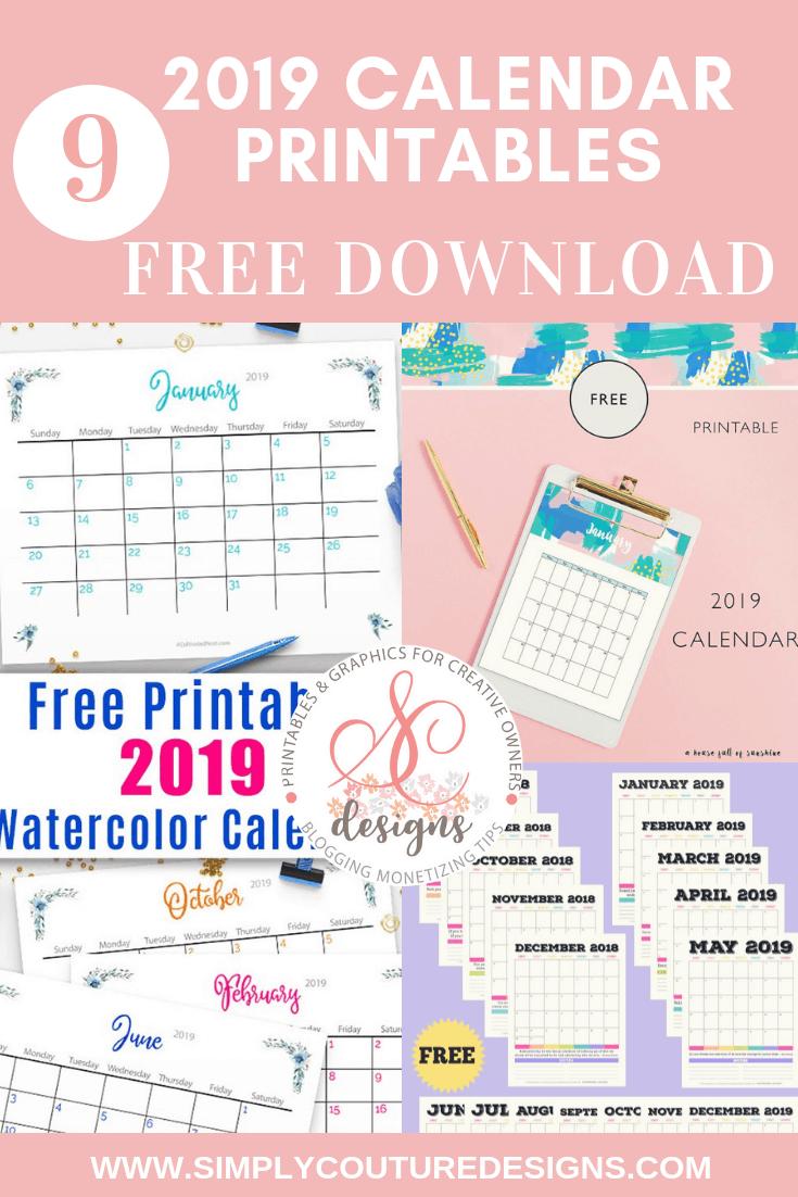 2019 calendar printable free - click through to download 9 beautiful 2019 calendar printable for free. Use the free calendar printable to plan everything in the new year.