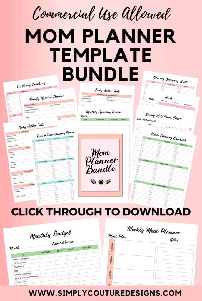 Mom Planner Template Bundle For Commercial use #momplanner #momprintable #plannerprintable #commercialuse #plr