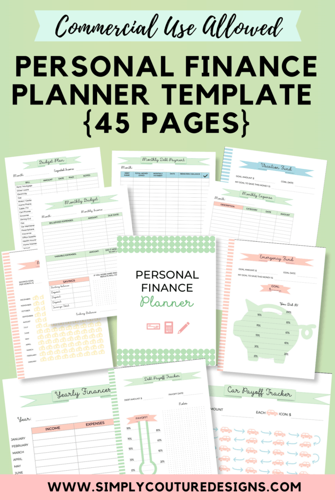 Personal Finance Planner Budget Worksheet Printable Template Bundle for Commercial Use {45 pages} #financeplanner #personalfinanceprintable #commercialuseprintable #plrplanner #personalfinanceplanner
