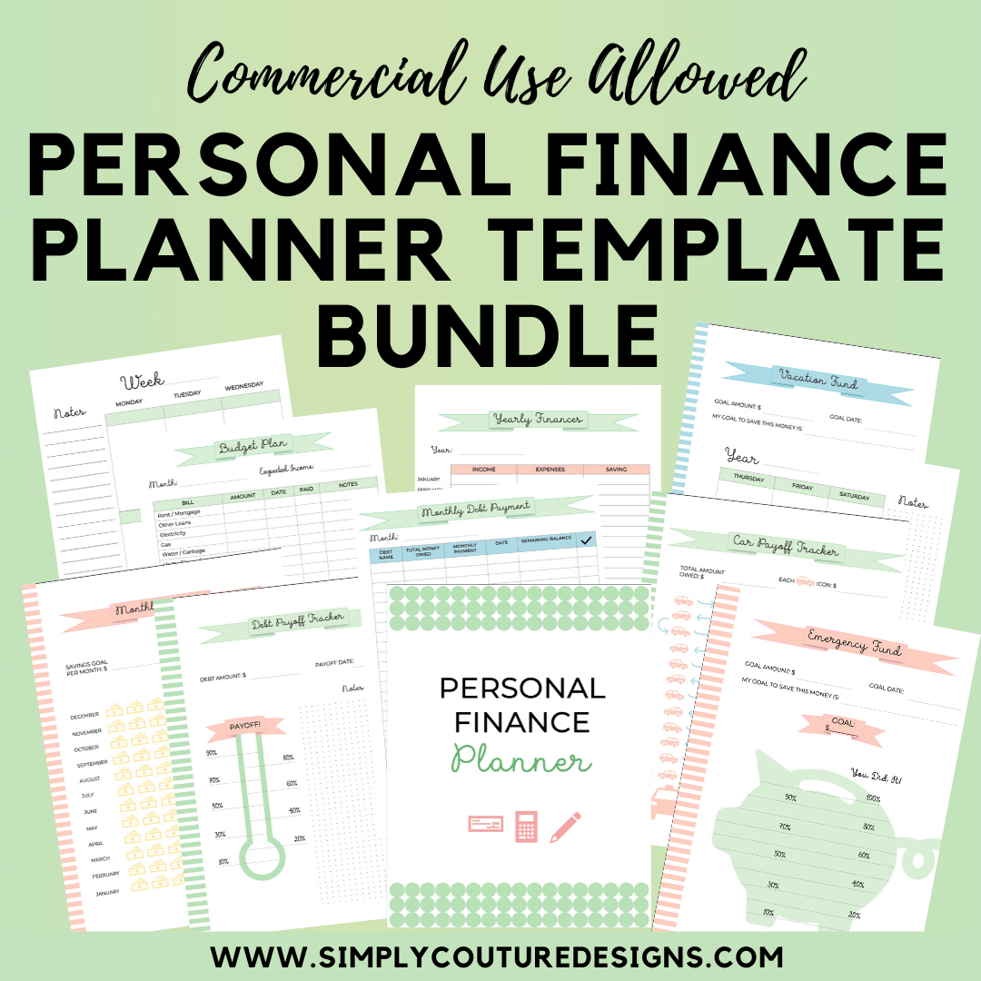 Personal Finance Planner Template Bundle for Commercial Use {45 pages} #financeplanner #personalfinanceprintable #commercialuseprintable #plrplanner #personalfinanceplanner
