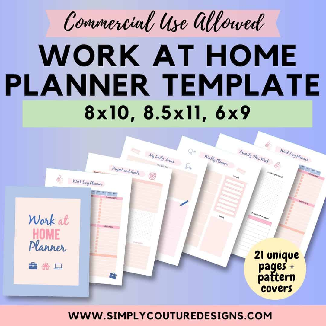 Work at home planner templates, sell planner printables on your website with these PowerPoint templates. Commercial use allowed #workathomeplanner #plannerprintable #commercialuse #plrplanner #plrtemplate #workathomeprintable #printable #doneforyou #doneforyoucontent