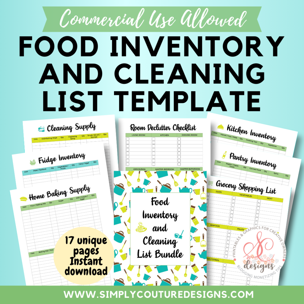 Food Inventory and House Cleaning List Printable Template