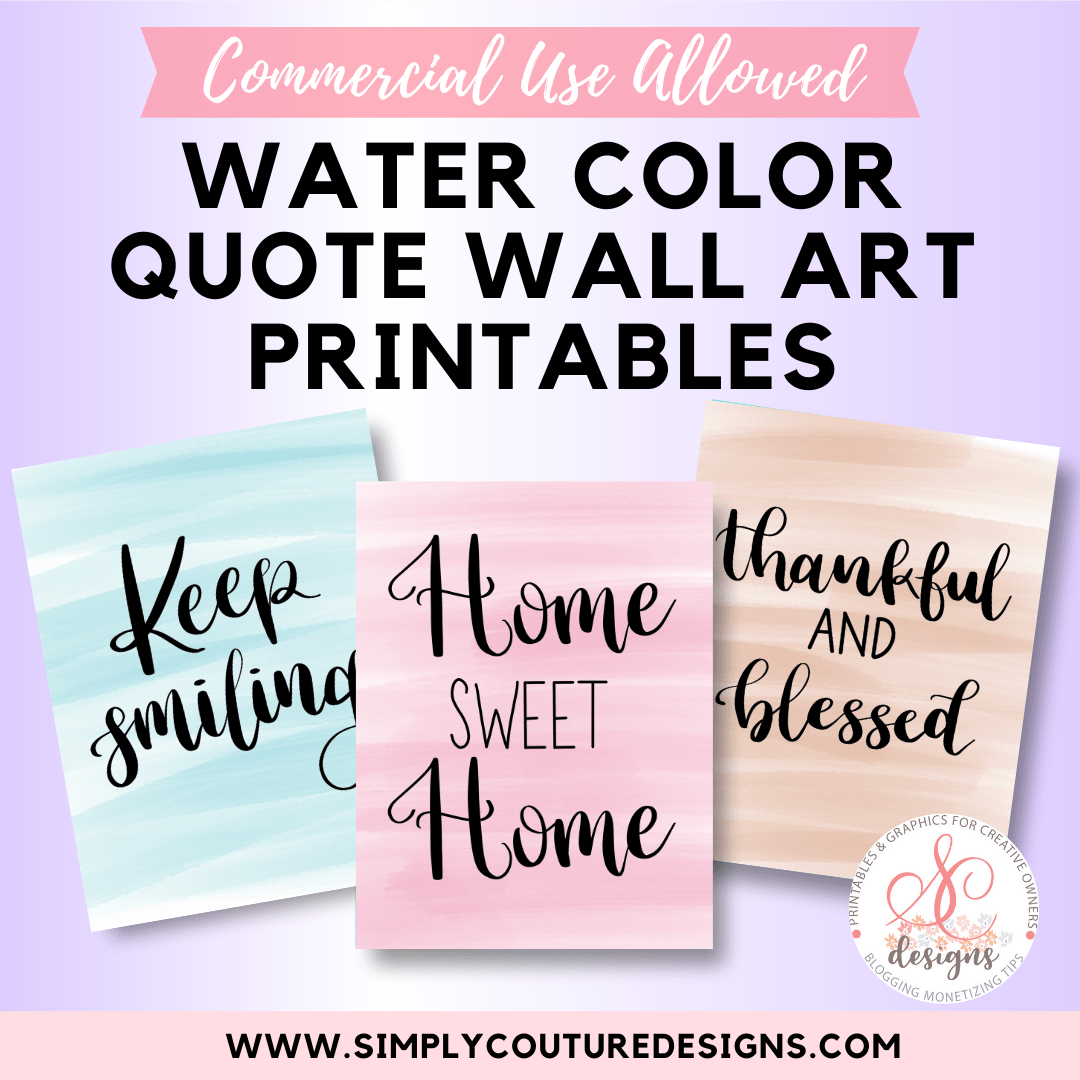 Watercolor quote wall art printables