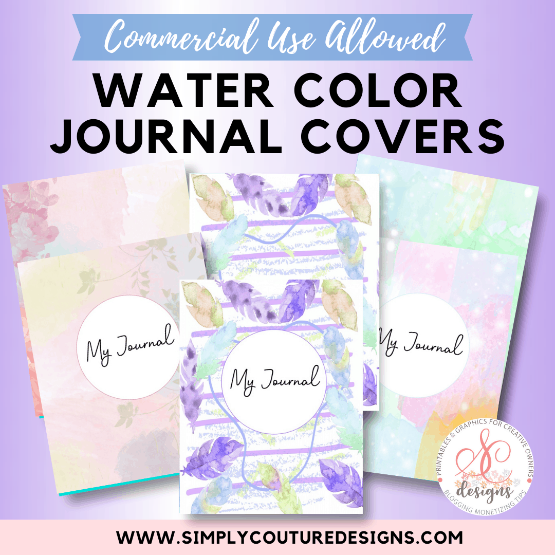 A collection of 3 pastel water color journal covers, with front and back designs
